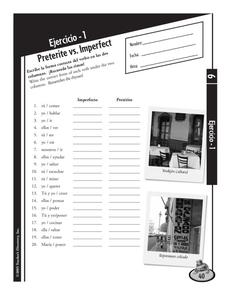 Ejercicio - 1 Preterite vs. Imperfect Worksheet