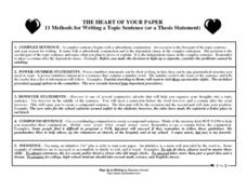 The Heart of Your Paper: 11 Methods for Writing a Topic Sentence (or a Thesis Statement) Handouts & Reference