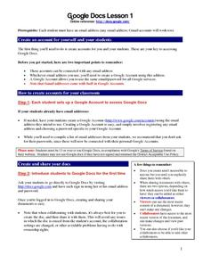 Google Docs Lesson 1 Lesson Plan