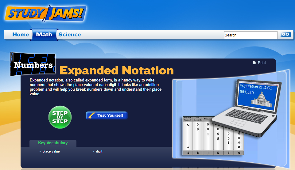 study jams  expanded notation interactive for 3rd