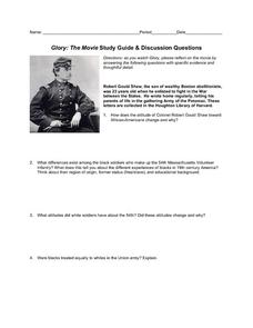 th massachusetts regiment lesson plans worksheets glory the movie study guide discussion questions