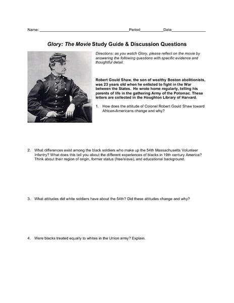 glory movie study guide lesson plans worksheets rh lessonplanet com case study discussion guide free bible study discussion guides