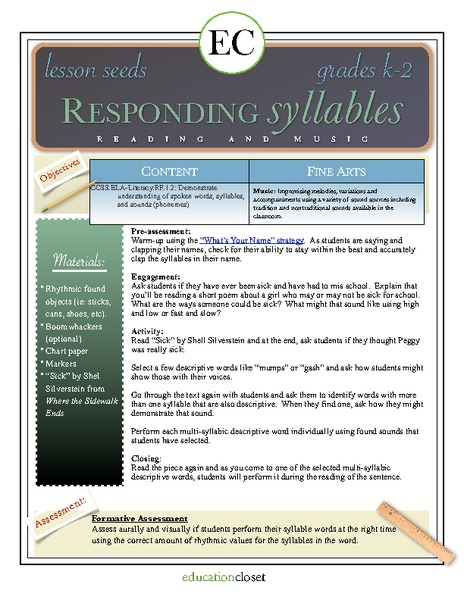 Responding Syllables: Reading and Music Lesson Plan