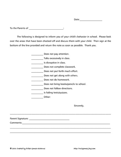 Behavior Letter to Parents Printables & Template
