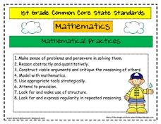 Common Core State Standards 1st Grade Math Printables & Template