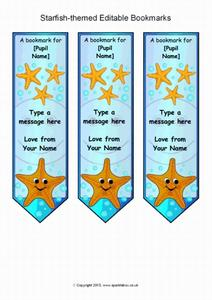 image regarding Starfish Story Printable referred to as Starfish-Themed Editable Bookmarks Printables Template for