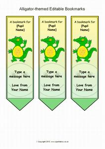 Alligator-Themed Editable Bookmarks Printables & Template
