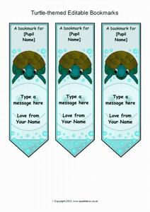 Turtle-Themed Editable Bookmarks Printables & Template
