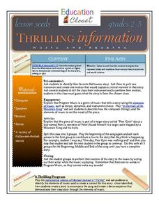 Thrilling Information: Music and Reading Lesson Plan