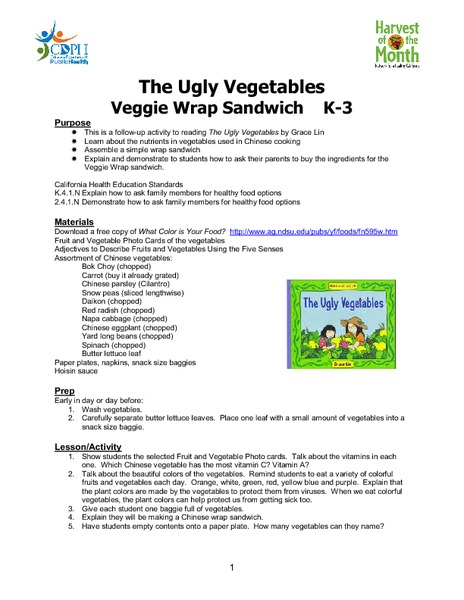 The Ugly Vegetables: Veggie Wrap Sandwich Lesson Plan
