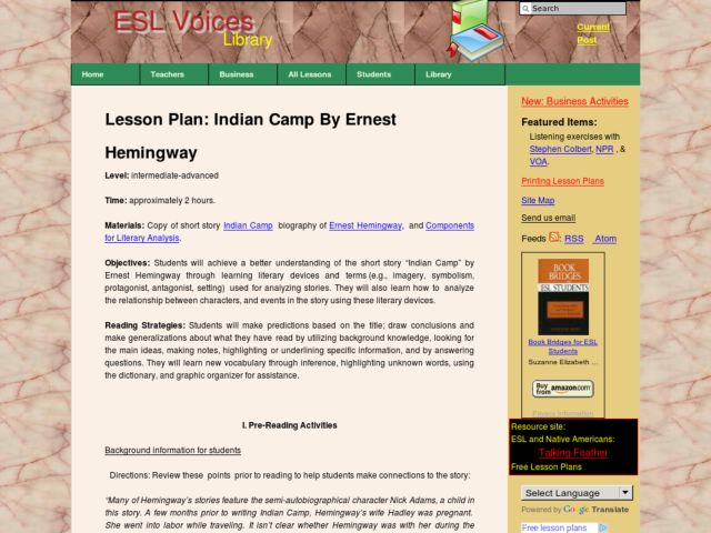 Lesson Plan: Indian Camp By Ernest Hemingway Lesson Plan