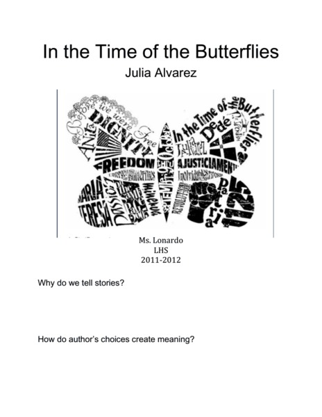 In the Time of the Butterflies Packet Handouts & Reference
