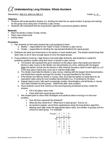 Understanding Long Division: Whole Numbers Lesson Plan