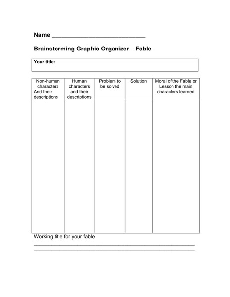 Brainstorming Graphic Organizers Printables & Template