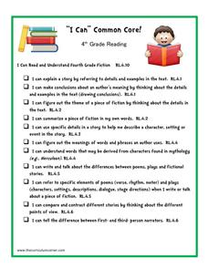 """I Can"" Common Core! 4th Grade Reading Printables & Template"