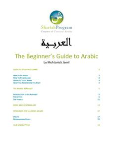 Beginner's Guide to Arabic Worksheet