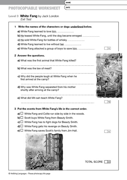 White Fang by Jack London Exit Test 6th - 8th Grade Worksheet ...