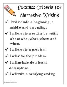 Success Criteria for Narrative Writing Printables & Template ...