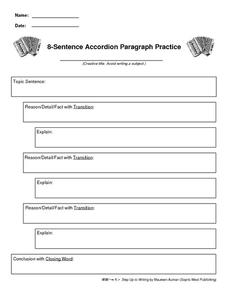 8-Sentence Accordion Paragraph Practice Printables & Template for ...
