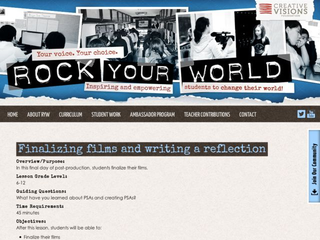 Finalizing Films and Writing a Reflection Lesson Plan