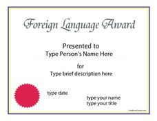 Foreign Language Award Printables & Template