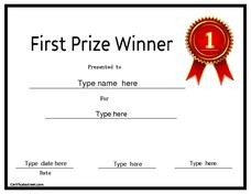 First Prize Winner Printables & Template