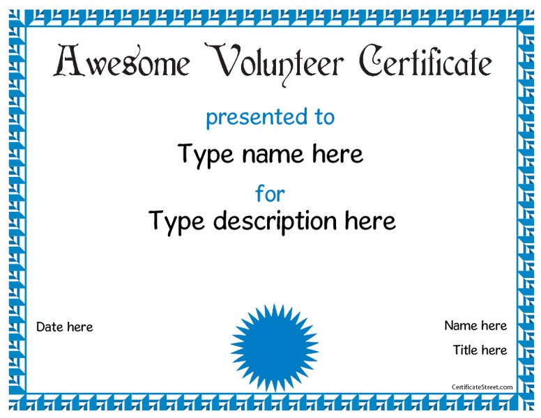 Volunteer Award Printables & Template