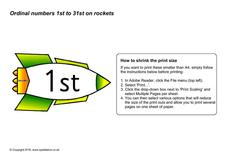 Ordinal Number Rockets 1st to 31st Printables & Template