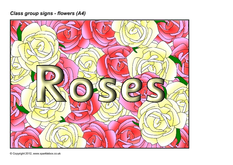 Flowers-Themed Group Signs Printables & Template