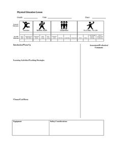 Physical Education Lesson Template Printables & Template