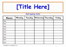 Editable 1-Week (Daily) Class Record Chart Printables & Template