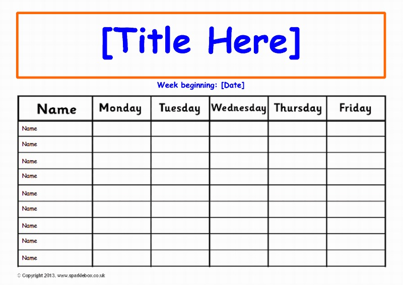 daily chart template