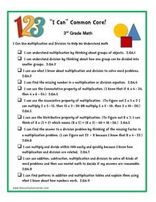 """I Can"" Common Core! 3rd Grade Math Printables & Template"