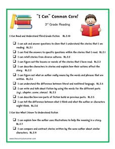 """I Can"" Common Core! 3rd Grade Reading Printables & Template"