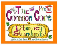 The Common Core Literacy Standards - Pre-K Posters Printables & Template
