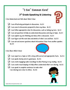 """I Can"" Common Core! 3rd Grade Speaking & Listening Printables & Template"