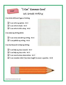 """I Can"" Common Core! 1st Grade Writing Printables & Template"