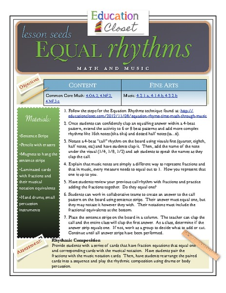 Equal Rhythms Lesson Plan