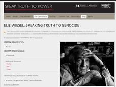 Elie Wiesel: Speaking Truth to Genocide to Power Activities & Project