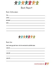 New Words Book Report Form Printables & Template