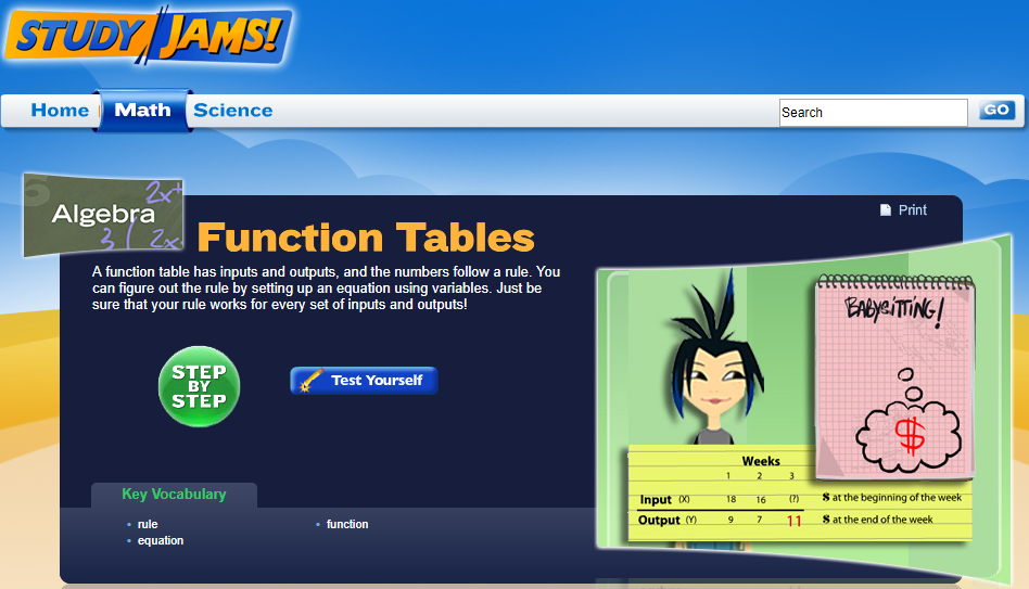 Study Jams! Function Tables Interactive