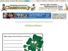 St. Patrick's Day 4 Leaf Clover Story Starter Printables & Template