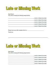 Late or Missing Work Form Printables & Template