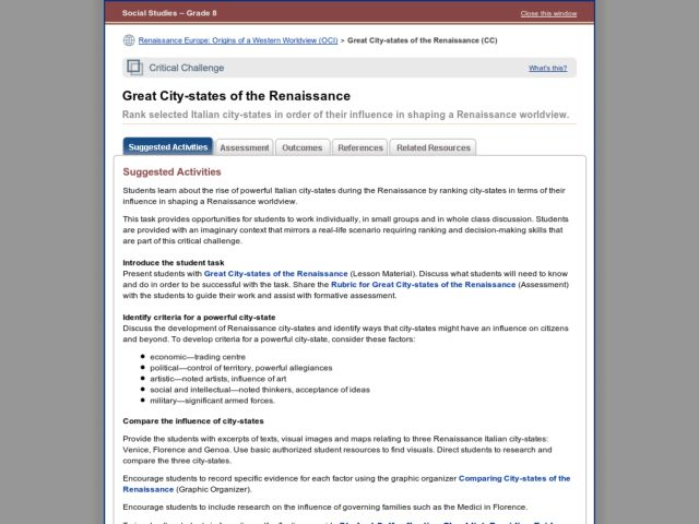 Great City-states of the Renaissance Activities & Project