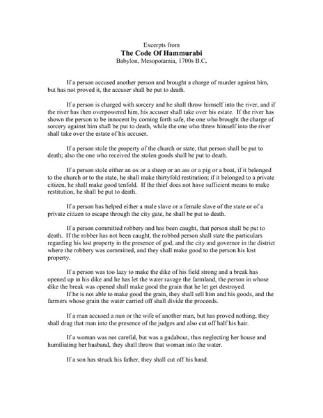Hammurabi code essay