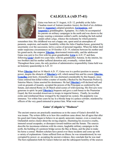 The Good, The Bad, The Crazy: Roman Emperors Worksheet