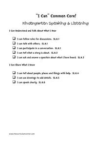 """I Can"" Common Core! Kindergarten Speaking & Listening Printables & Template"