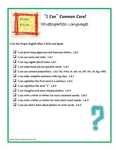 """I Can"" Common Core! Kindergarten Language Printables & Template"