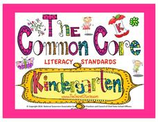 The Common Core Literacy Standards - Kindergarten Posters Printables & Template