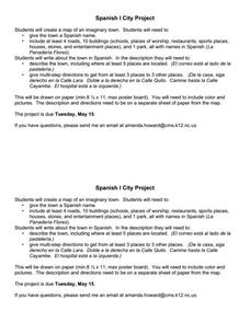 Spanish II City Project Activities & Project